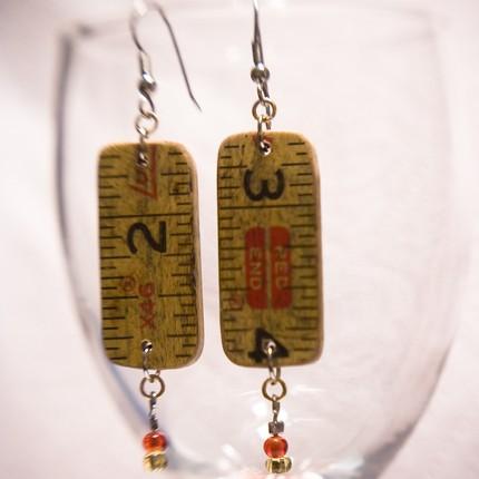 Wooden ruler earrings