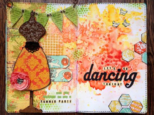 Let's go dancing art journal - birgit koopsen - Wow Embossing