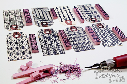 from the Balzer Designs Blog: Long Skinny Garbage Stamps #stampcarving