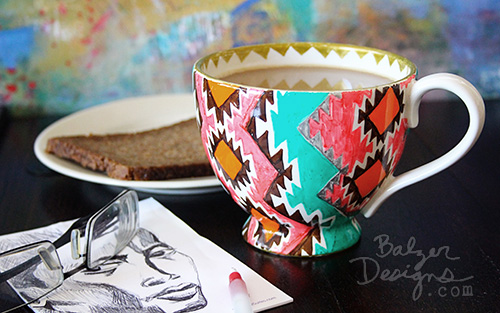 from the Balzer Designs blog: Rug Mugs