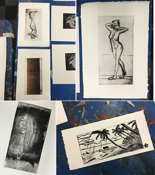 from the Balzer Designs Blog: Printmaking Class: Block Printing & Drypoint