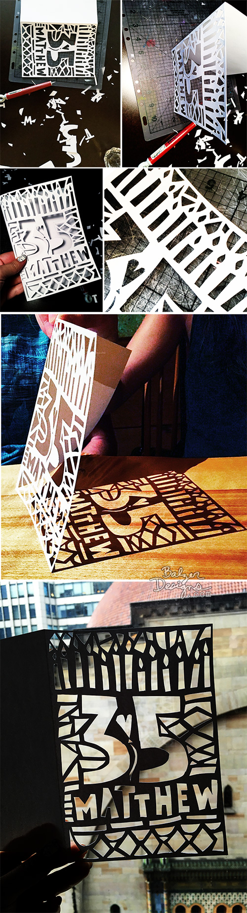 from the Balzer Designs Blog: Hand Cut Birthday Card for my Brother
