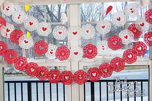 from the Balzer Designs Blog: Valentine's Day Table for Two: Fancy Balloons & a Doily Banner