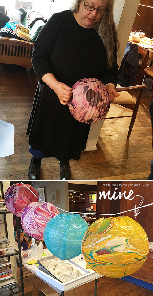 from the Balzer Designs Blog: Paper Marbling Class