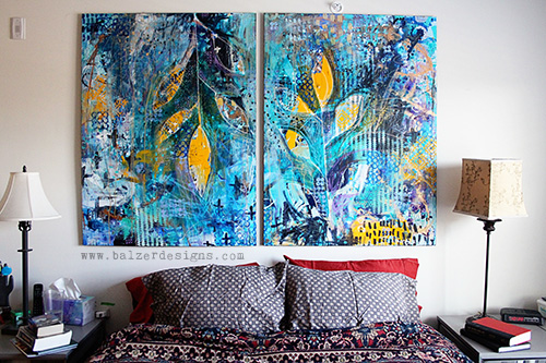 from the Balzer Designs Blog: The Diptych Over My Bed