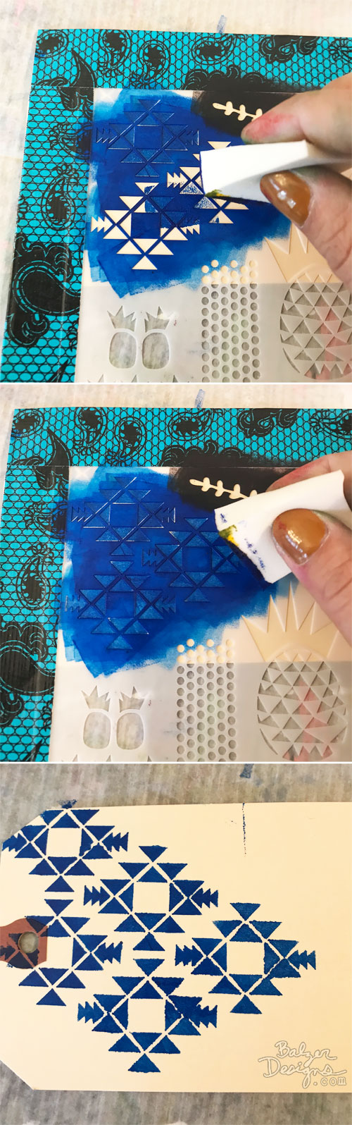 From the Balzer Designs Blog: SUMMER STENCIL TECHNIQUES WITH SUZANNE: Repeat and Layer