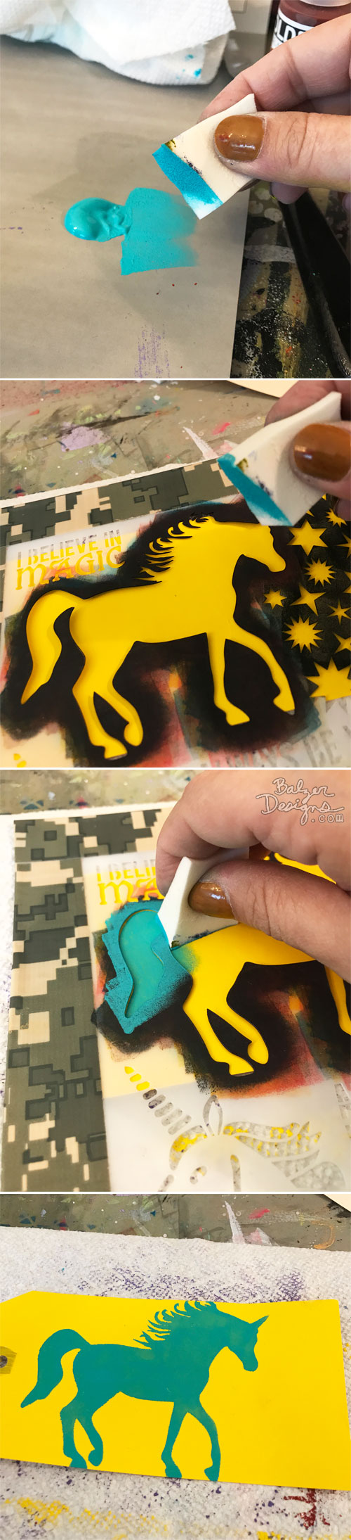 From the Balzer Designs Blog: Summer Stencil Techniques with Suzanne: Double it Up
