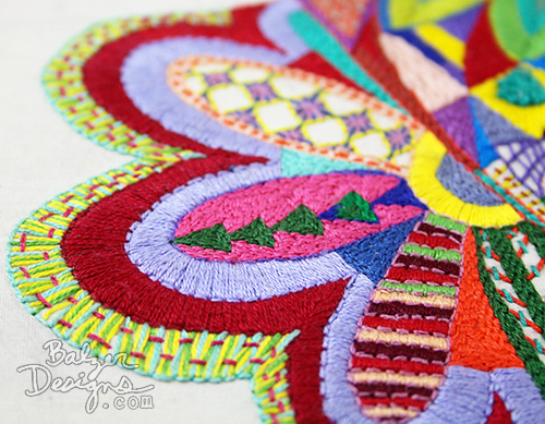 from the Balzer Designs Blog: The Embroidered Face is Finished
