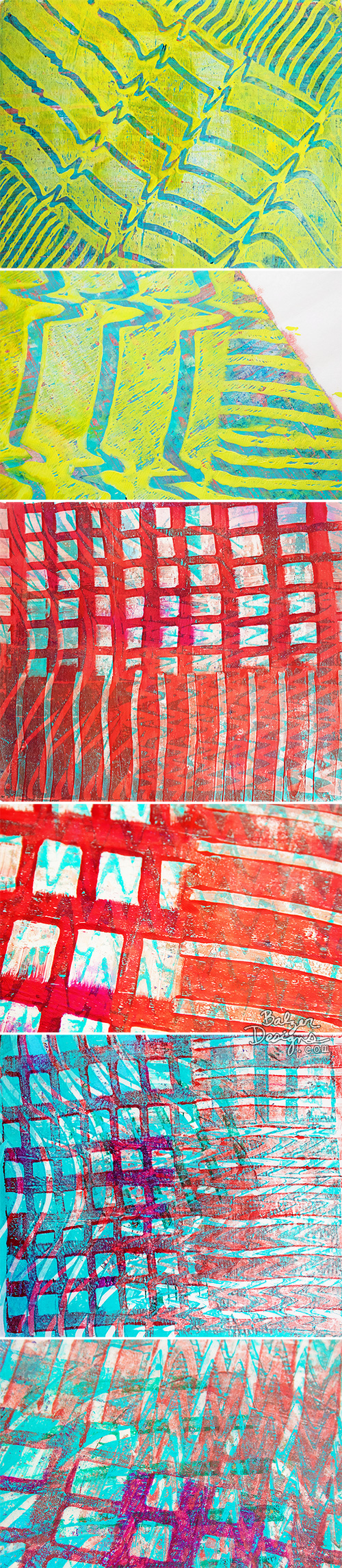 from the Balzer Designs Blog: Exploring Gelli Tools: Square Combs (video review in post)