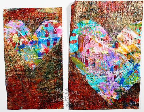 from the Balzer Designs Blog: Valentine's Week: Gelli Masked Prints #tutorial