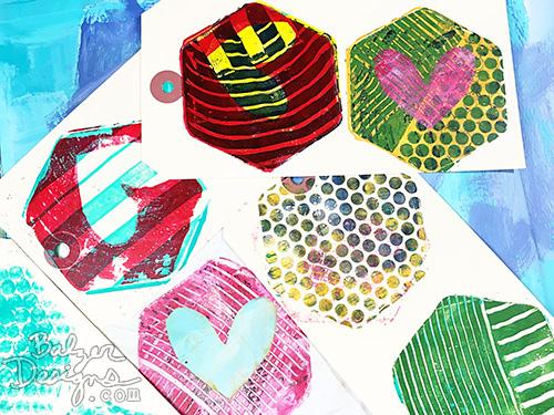 from the Balzer Designs Blog: Exploring the Gelli Arts Mini Printing Kit (Hexagon) #gelliprinting
