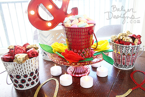 from the Balzer Designs Blog: Valentine's Day Table for Two: Doodled Buckets