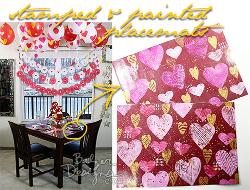 from the Balzer Designs Blog: Valentine's Day Table for Two: Placemats