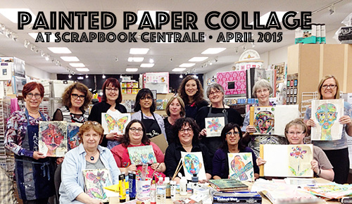 Julie Fei-Fan Balzer of Balzer Designs teachers her Painted Paper Collage class at Scrapbook Centrale in Montreal.