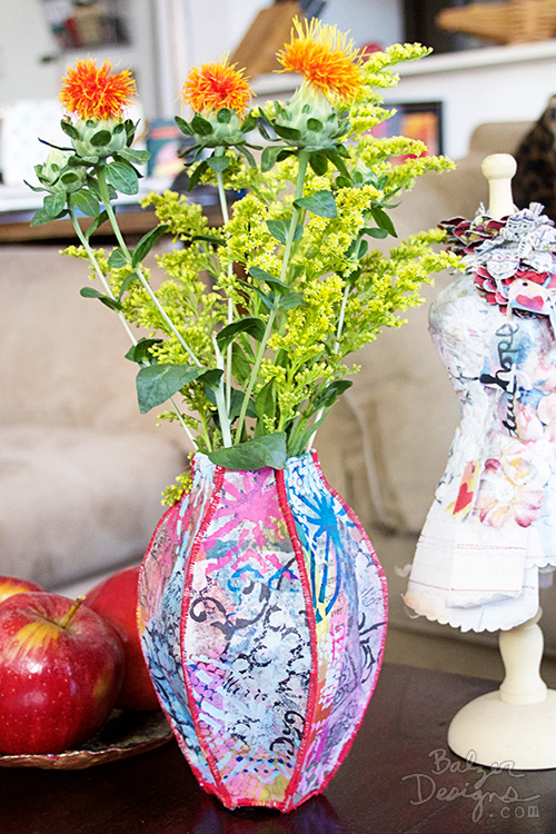 from the Balzer Designs Blog: Fabric Vase