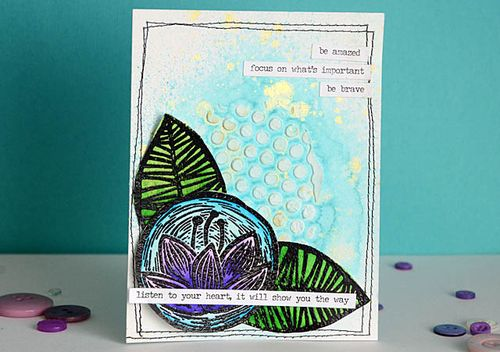 from the Balzer Designs Blog: Guest Post: Stenciled & Stamped Mixed Media Card with May Flaum