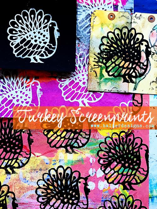 from the Balzer Designs Blog: Happy Thanksgiving! Turkey Screenprints
