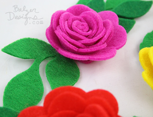 from the Balzer Designs Blog: Valentine's Day Table for Two: Felt Roses #ScanNCut