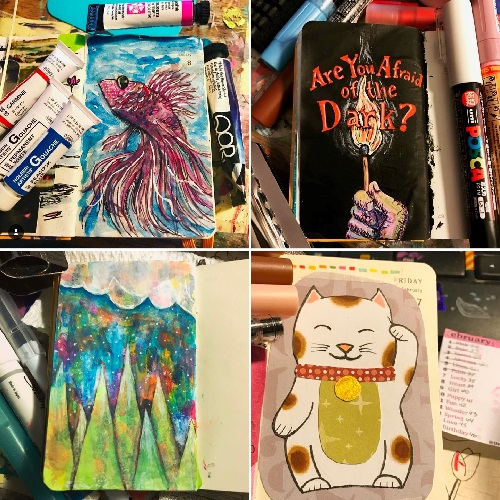From the Balzer Designs Blog: Art Journal Every Day: 1st Quarter of 2017 of Suzanne's #DrawriotDaily Journal
