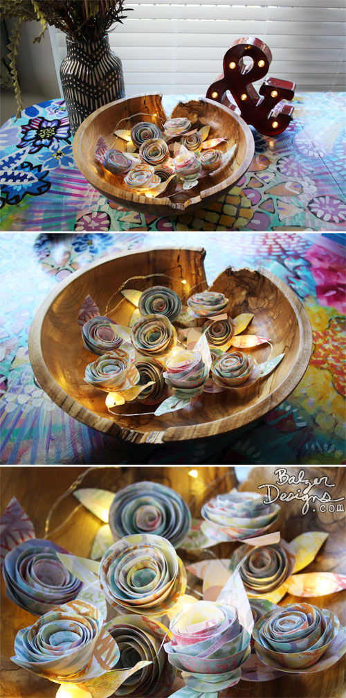 From the Balzer Designs Blog: Rolled Paper Rose Garland with Suzanne
