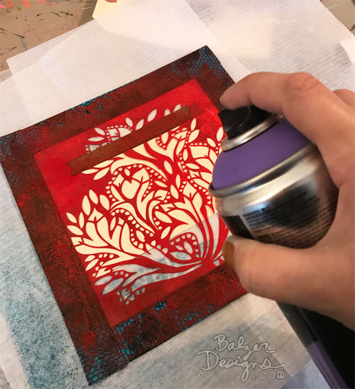 From the Balzer Designs Blog: Summer Stencil Techniques with Suzanne: Franken Tag