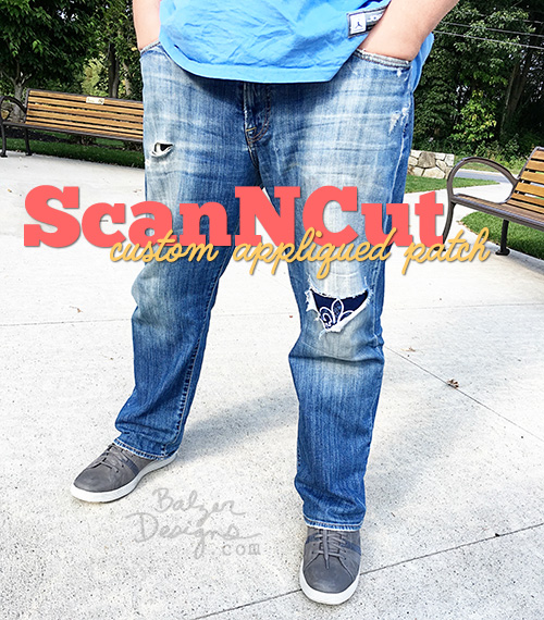 from the Balzer Designs Blog: #ScanNCut Peek-a-Boo Patched Jeans