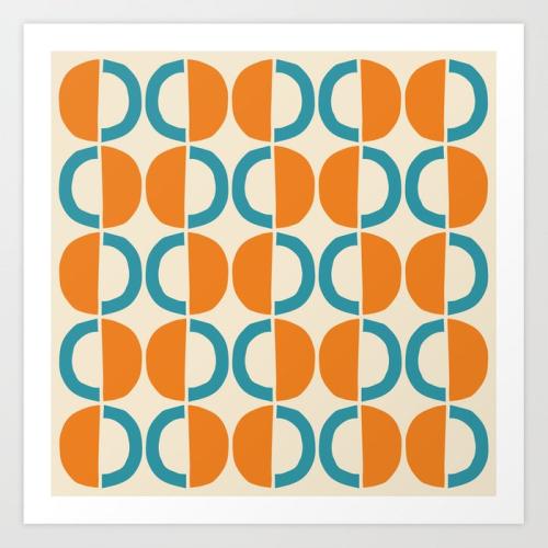 Mid-century-modern-half-circle-pattern-528-beige-orange-and-turquoise-prints